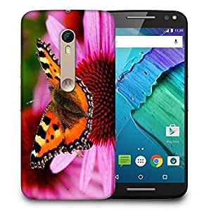 Snoogg Butterfly In Pink Flower Printed Protective Phone Back Case Cover For Motorola X Style