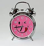Glockenwecker, elektronisches Quarzlaufwerk Wecker Kinderwecker 4001-Zunge-Pink