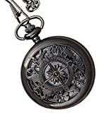 #10: LMP3Creation Black Classic Vintage Retro Antique Skeleton Hollow Pocket Watch With Chain (POW-0001)