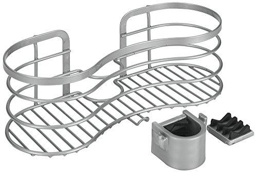 Metaltex, Cestello portasapone da doccia, fissaggio senza fori, colore: Argento (Edelstahloptik)