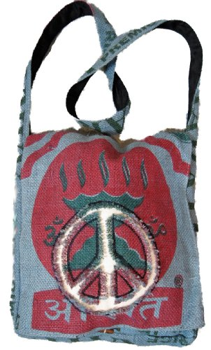 Peace Sign Purse Handbag Recycled Rice Bag