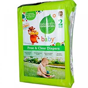Baby, Free & Clear Diapers, Size 2, 12-18 Pounds, 36 Diapers