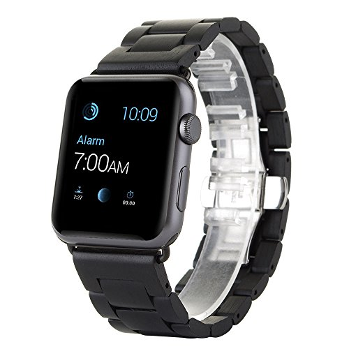 Apple-Watch-BandChin-Elegant-ebony-wood-African-blackwood-wood-ebony-black-wood-Bracelet-Watch-Band-Strap-Replacement-Wrist-Band-For-42mm38mm-Apple-Watch-Sport-Edition-iWatch-With-Butterfly-Closure