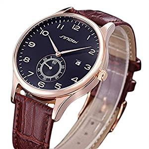 Elegant Leisure SINOBI Man's Wrist Watch Calender Leather Band Brown Black