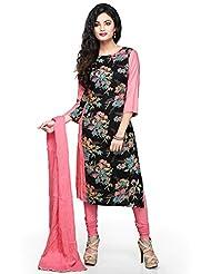 Utsav Fashion Women's Black Cotton Readymade Kameez With Legging-Medium