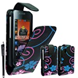 For Samsung Tocco Lite S5230 Pink Blue Flower Printed Pouch PU Leather Magnetic Protected Flip Case Cover + Free Stylus