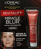L Oreal Paris 4 PACK Revitalift Miracle Blur Instant Skin Smoother Finishing Cream with Broad Spectrum SPF 30 Sunscreen .5 Oz (15 mL)