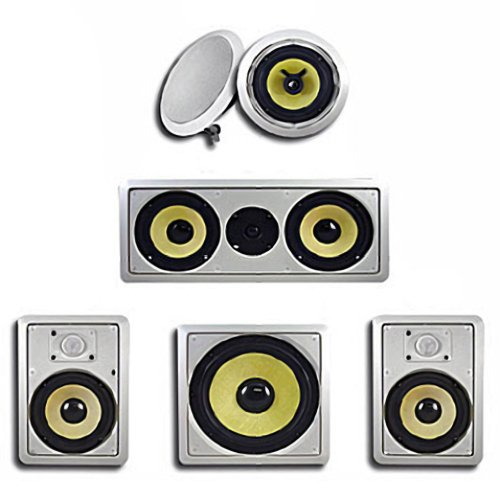 Acoustic Audio Hd516 5.1 In-Wall/Ceiling 6-Piece Home Speaker System