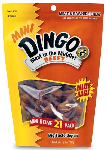 Dingo 2-1/2-Inch Beefy Knotted Bones, 21 Pack