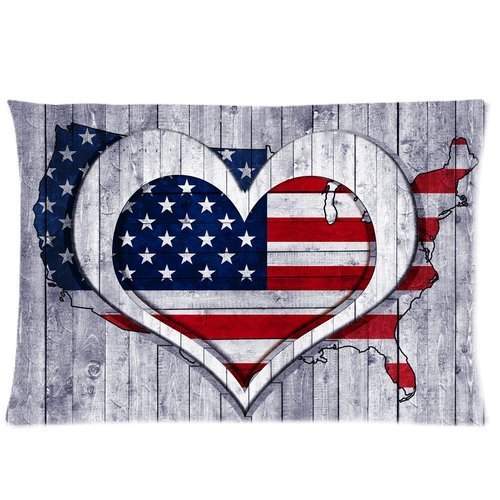 Butuku American Flag Map Wooden Background Custom Zippered Pillow Case 20X30 (One Side) front-759728