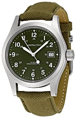 Hamilton Men's HML-H69419363 Khaki Field Green Strap Analog Hand wind Stainless Steel Watch