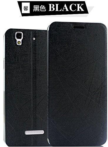 Pudini Rain Series with vacuum clip Flip Back Cover Case For Yu Yureka (Black)