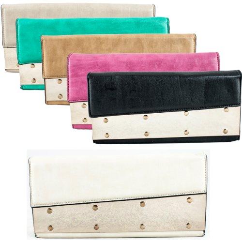 Girly HandBags New Studded Leather Clutch Bag Evening Party Folded Gold Stud Multicolor Handbag