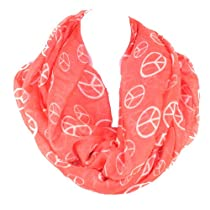 Trendy Hipster Peace Sign Infinity Loop Scarf Wrap By Silver Fever® Brand (Salmon/White)
