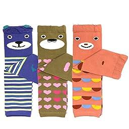Bowbear Baby 3-Pair Leg Warmers, Bears in Stripes, Dots, Hearts