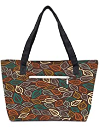 Pack Of 2 Multicolor Leaves Combo Tote Shopping Grocery Bag With Coin Pencil Purse