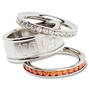 NCAA Tennessee Volunteers Logo Crystal Stacked Ring Set by Logo Art