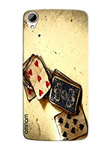 Omnam Painted Playing Cards Effect Printed Designer Back Cover Case For HTC Desire 828