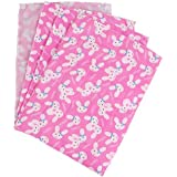Baby One Sided Pink Cotton Plastic Sheet Changer Pack Of 4 Pcs Assorted 0-1 Year Baby