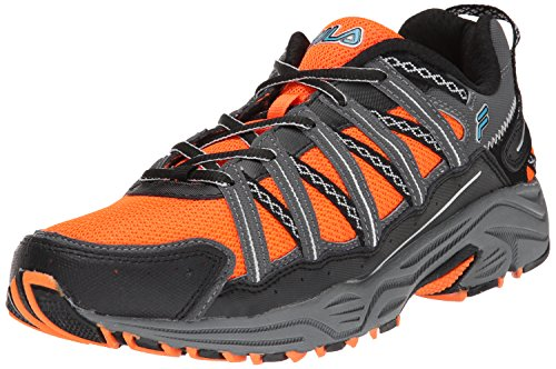 Fila Men's Headway 4 Trail Running Shoe, Shocking Orange/Pewter/Atomic Blue, 8.5 M US