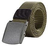 (レギアス) REGEASS® 高品質 ナイロンベルト 調整可能 軽量バックル メンズ 5色 フリーサイズ ロゴ入り布ぽーち付き (ミリタリーグリーン)