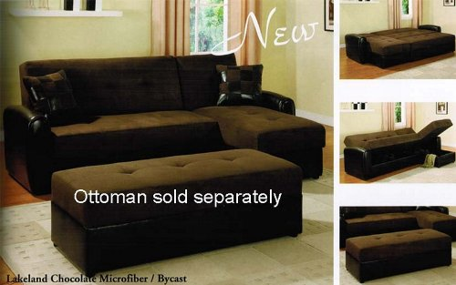 Adjustable Sectional Sofa with Reversible Chaise and Storage Chocolate Microfiber