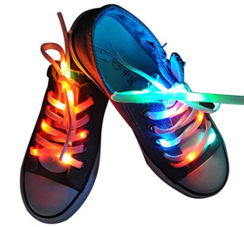Lystaii LED Light Waterproof Shoelaces Shoestring Battery Powered Flash Lighting the Night for Party Hip-hop Dancing Skating Running Cosplay Decoration Running (RGB Colorful) (Led Light Up Shoe Laces compare prices)