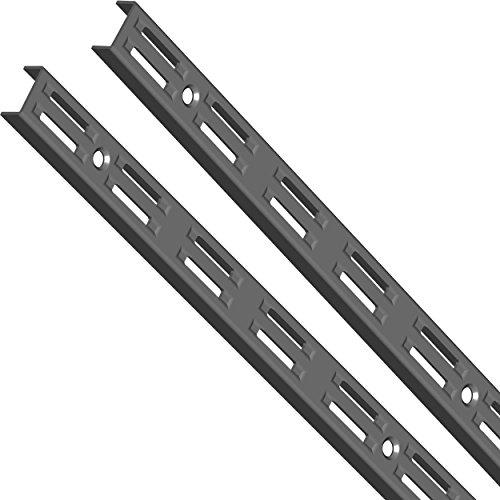 Element System Wandschiene 2-reihig, 2 Stück, 4 Abmessungen, 3 farben, lange 50 cm für Regalsystem, Regalträger, Wandregal, schwarz, 10001-00002