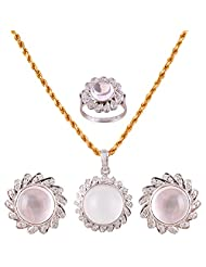 Mariya Impex Classic Collection Silver Pendant Necklace Set For Women - B00YHWMVFY