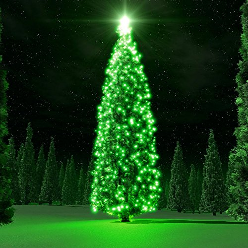 Flexzion Solar Powered String Lights (Green) 40ft 100 LED Fairy Lighting Flashing Lamp Decal Bulb Ornament Waterproof For Christmas Xmas Holiday Party Decoration