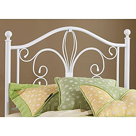 Twin-sized White Metal Headboard Modern Antique Vintage Style Bedroom Furniture Great for Kid's or Guest Bedroom * Furniture Does Not Include Footboard Frame Mattress Twin Bedding Linens Pillows Etc