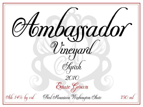 2010 Ambassador Vineyard Estate Red Mountain Syrah 750 Ml