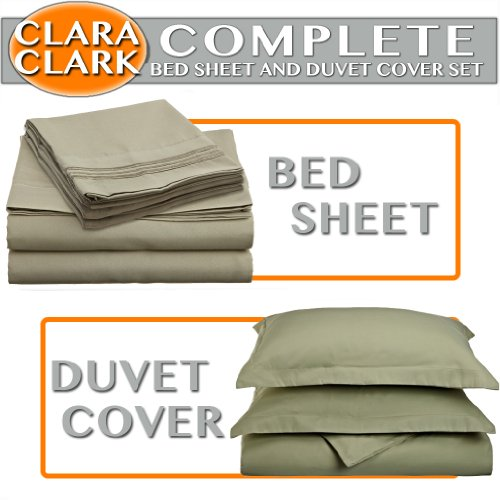 Why Choose Clara Clark Complete 7 Piece Bed Sheet and Duvet Cover Set, Cal King Size, Sage Green