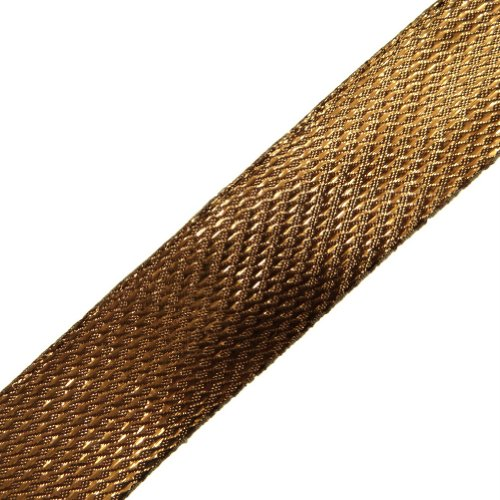 Bronze Metallic Ribbon Trim Sewing Women Border Lace Craft India 4.5 Yd