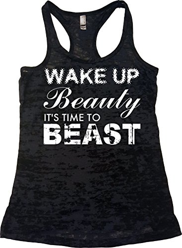 Orange Arrow Womens Workout Clothing (L, Black) - Wake up Beauty Time to Beast - Crossfit Tank Top