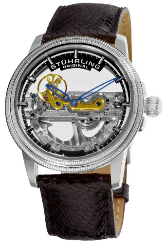 Stuhrling Original Men's 213A.331X13 Saturnalia Bridge Automatic Skeleton Silvertone Lizard Strap Watch