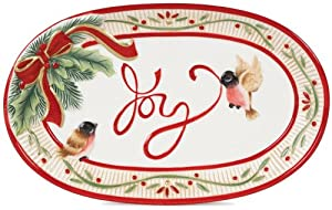 Fitz and Floyd Serveware, Santa's Forest Friends Joy Sentiment Tray