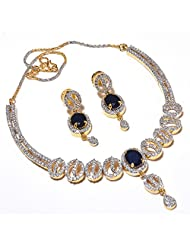 GEMSTONE BLUE SAPPHIRE NECKLACE SET CZ ONE GRAM GOLD PLATED FINE TANISHQ STYLISH PAVE JEWELRY