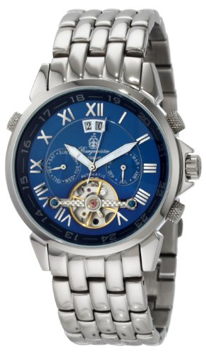 Burgmeister California Bm118-131 Gents Automatic Analogue Wristwatch Stainless Steel Bracelet Blue Dial Visible Balance-Wheel Day Date Month