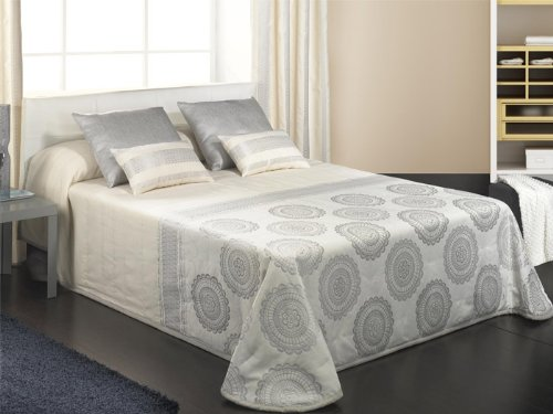 Colcha bouti jacquard Rose - cama 105 cm - Plata