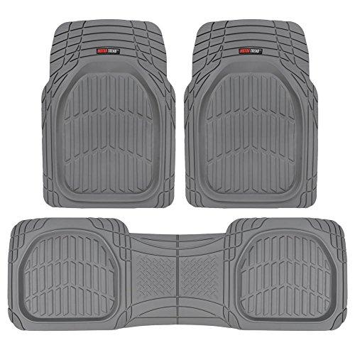 Motor Trend FlexTough Contour Liners - Heavy Duty Deep Dish Rubber Floor Mats in Gray