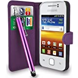 Dark Purple Leather Wallet Flip Case Cover Pouch For Samsung Galaxy Y S5360 + Free Screen Protector & Touch Stylus Pen - Dark Purple