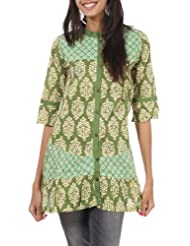 Rajrang Cotton Green Screen Printed Tunic Top, Size: S