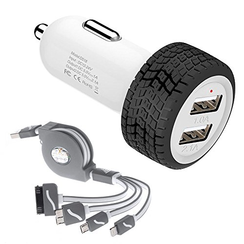 Car Charger, Powerful Dual USB Car Charger + 4 in 1 Multiple USB Charger Cable Combo for Apple iPhone 4s 5s 6 6s Plus , iPad Mini Air , Samsung, Google Nexus 7, HTC, LG, Nokia, Tablets And More (Gary)