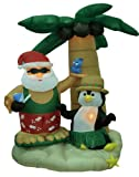 7 Foot Christmas Inflatable Santa Claus and Penguin with Palm Tree Yard Decoration