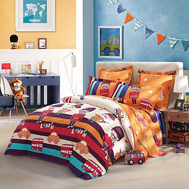 QQI LOVO KIDS Travelling to London 100% Cotton 300-Thread-Count Bedding Sheet Set 4pcs