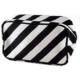 Striped Pattern Black & White Top Zip Cosmetic Bag
