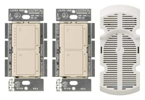 Lutron Ma-Lfq3-La Maestro Multi-Location Fan Control Kit, Light Almond