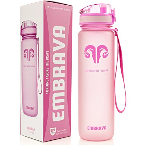 Best Sports Water Bottle - 32oz Large - Fast Flow, Flip Top Leak Proof Lid w/ One Click Open - Non-Toxic BPA Free & Eco-Friendly Tritan Co-Polyester Plastic (PINK) (Narrow Water Jug compare prices)
