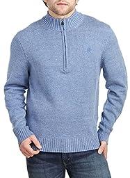 IZOD Men\'s Solid 1/4 Zip Sweater, Colony Blue Heather, Large